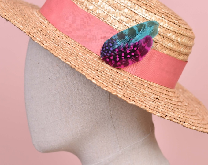 Pink, Blue and Purple Feather Hat Pin Small No.80
