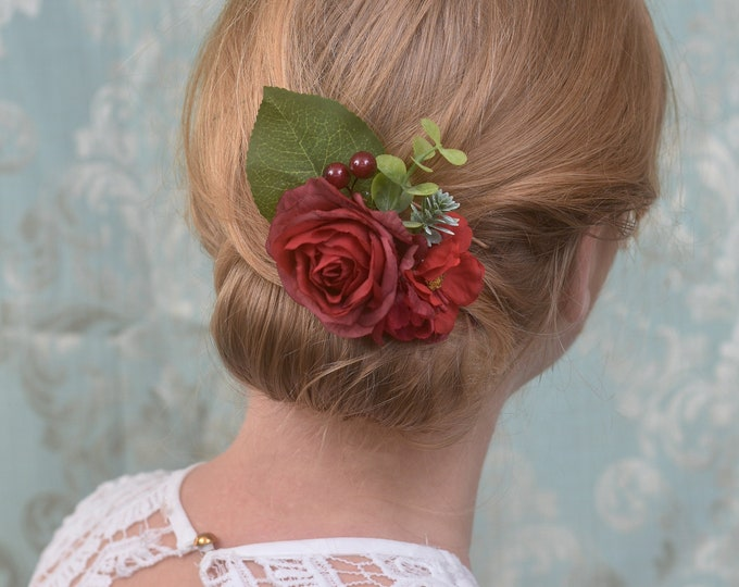 Red Rose and Blossom Hair Clip