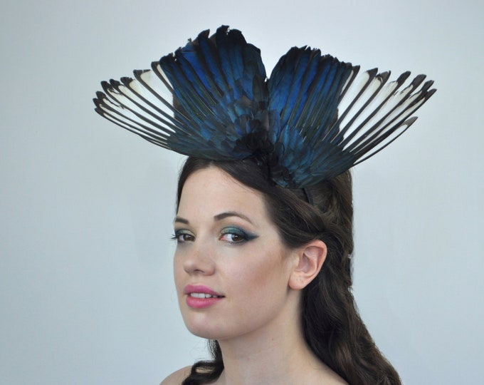 Magpie Wing Fascinator in Diving Butterfly Effect