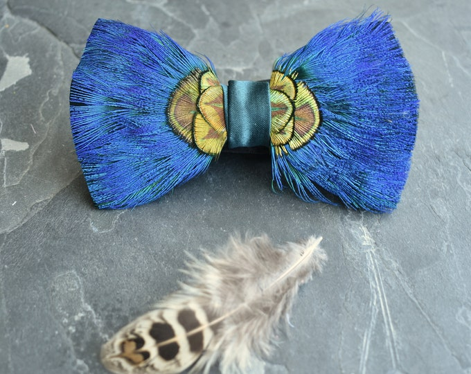 Turquoise and Gold Peacock Feather Bow Tie