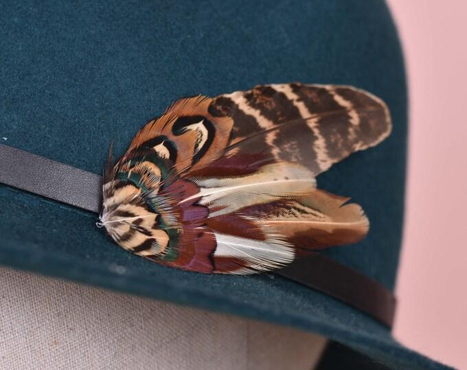 Copper Pheasant Feather Lapel Pin Small No.79