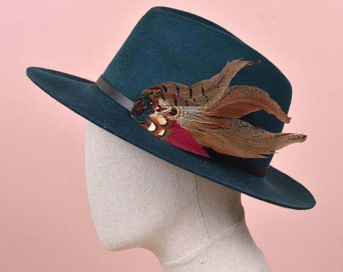 XL Pheasant and Burgundye Feather Hat Pin No.219