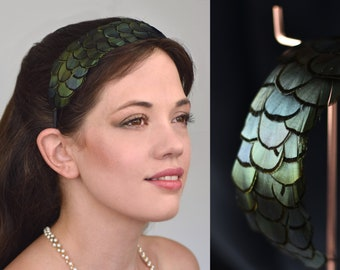 Feather Headband in Green Iridescent Scalloped Feathers