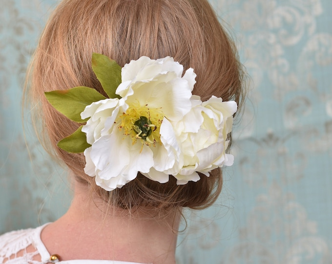 Large Ivory Peony Flower Hair Clip