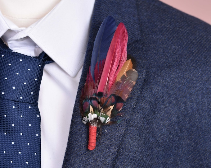 Crimson and Navy Duck and Pheasant Feather Lapel Pin Small No.95