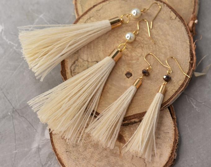 Ivory Feather Tassel Earrings