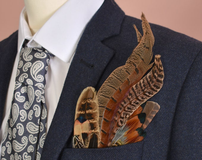 Pheasant Feather Pocket Square No.8