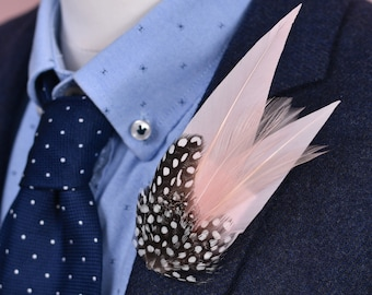 Blush Pink and Spotted Guinea Fowl Feather Lapel Pin