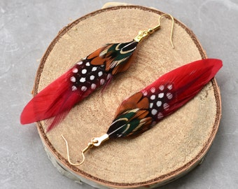 Red Pheasant Feather Earrings