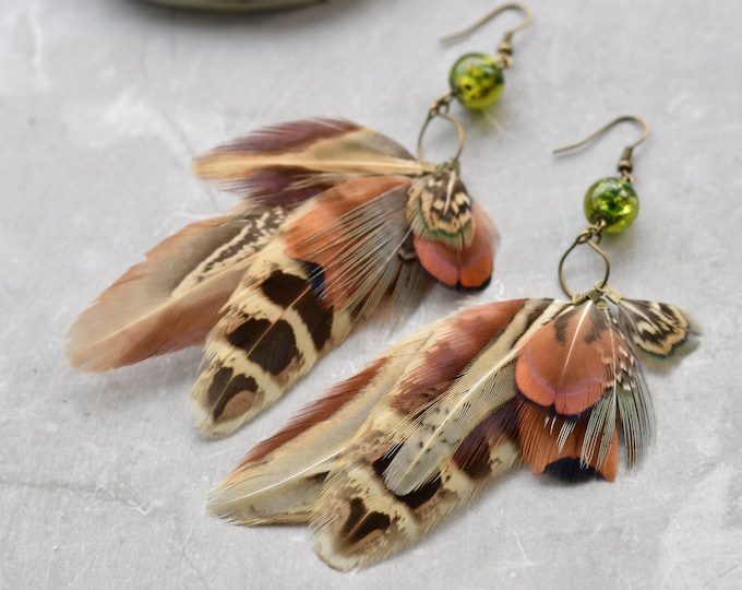 Unique Mixed Tassel Pheasant Feather Earrings with Green Glass Bead No.32