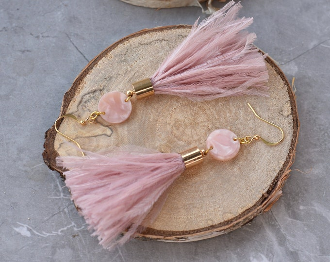 Blush Pink Ostrich Feather Tassel Earrings with Acetate Disc