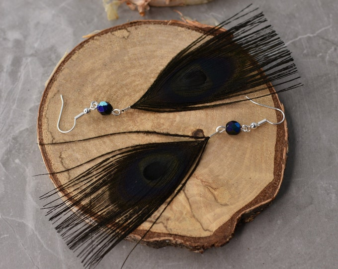 Black Peacock Feather Earrings with Crystal Beads