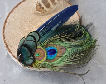Green and Navy Peacock Feather Hat Pin / Lapel Pin No.157