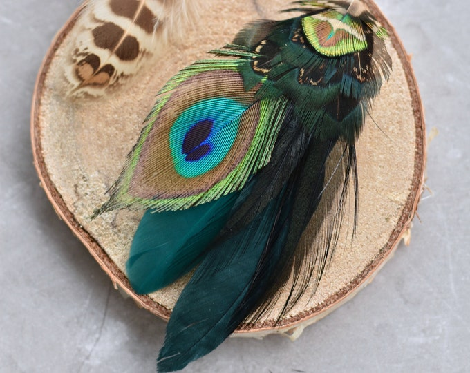 Teal and Green Peacock Feather Lapel Pin / Hat Pin Small No.115