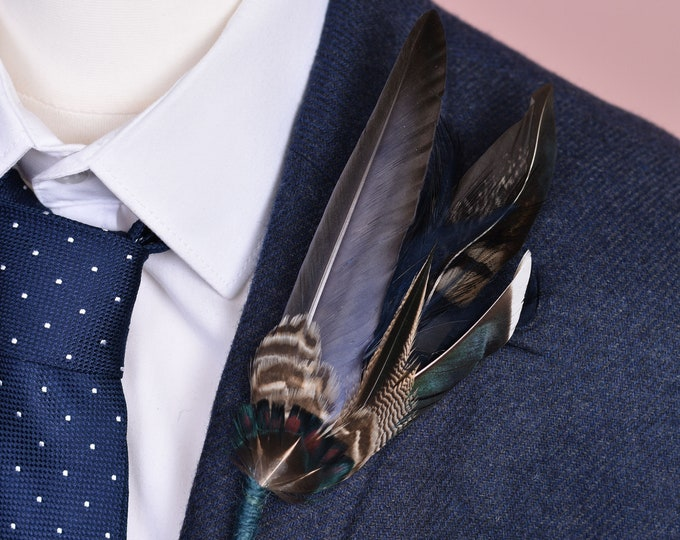 Duck and Pheasant Feather Lapel Pin No.140