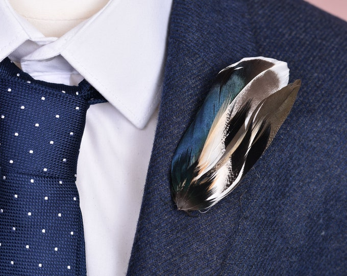 Duck Feather Lapel Pin in Navy Blue, Black and Ivory Small No.101