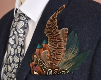 Green and Pheasant Feather Pocket Square No.4