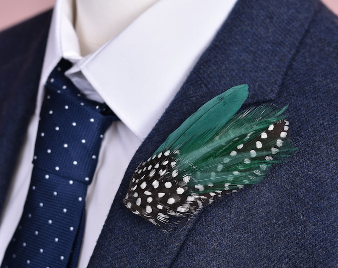 Bottle Green and Polka Dot Feather Lapel Pin Small No.107