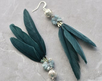 Turquoise and Bottle Green Feather Earrings