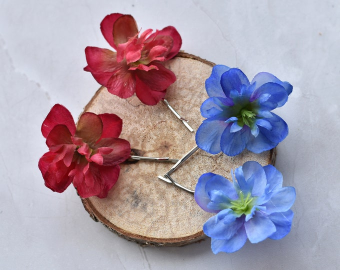 Blossom Hair Slides in Red or Blue Set of 2