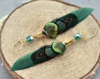 Green and Gold Small Feather Earrings with Emerald Crystal Bead
