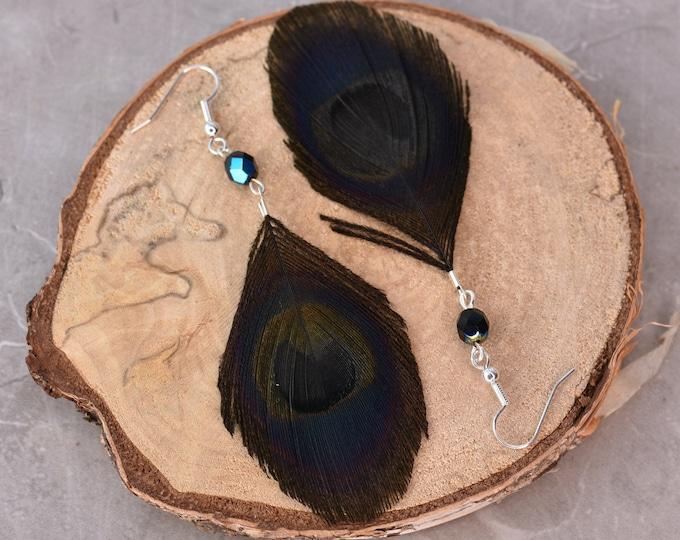Black Peacock Feather Earrings Crystal Beads