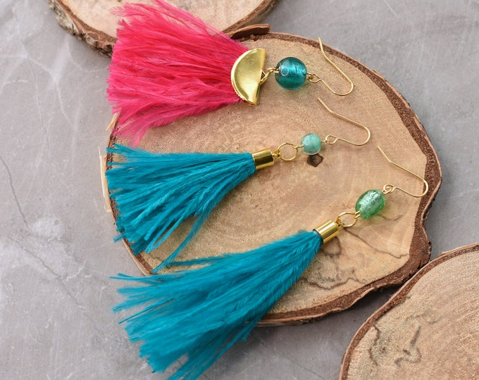 Turquoise and Pink Ostrich Feather Tassel Earrings