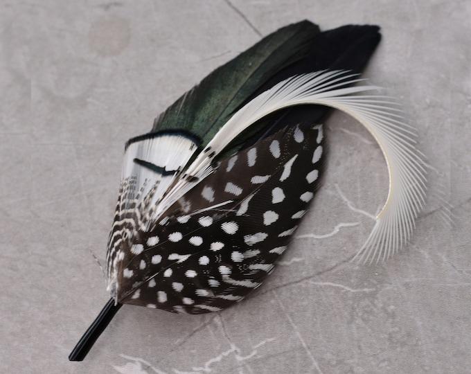 Monochrome Feather Lapel Pin Small