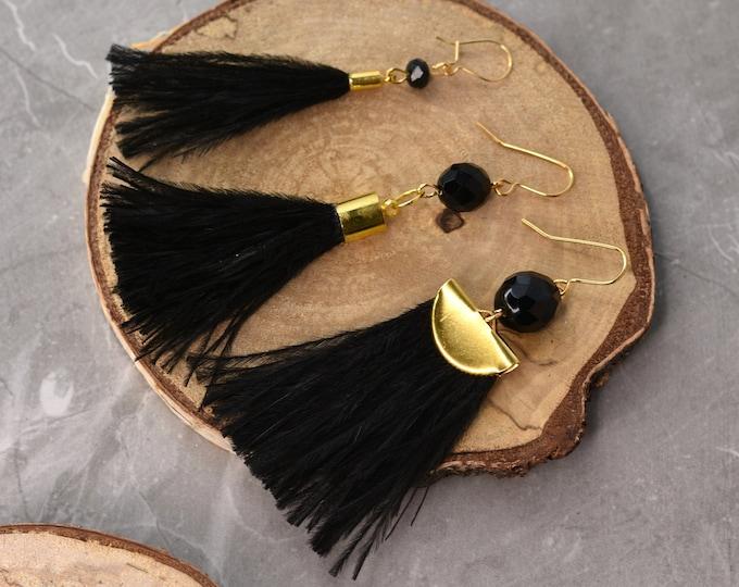 Black Ostrich Feather Tassel Earrings