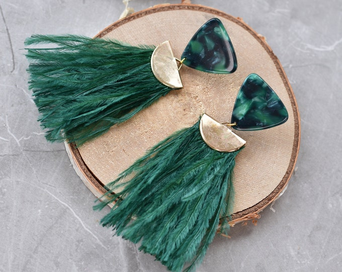 Green Acetate and Ostrich Feather Tassel Earrings