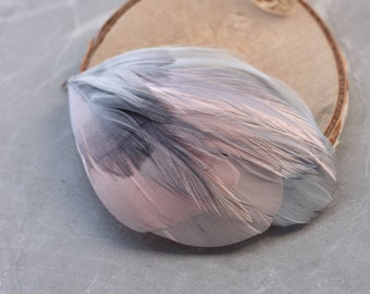 Unique Feather Hair Clip in Blush Pink and Silver Grey No.16