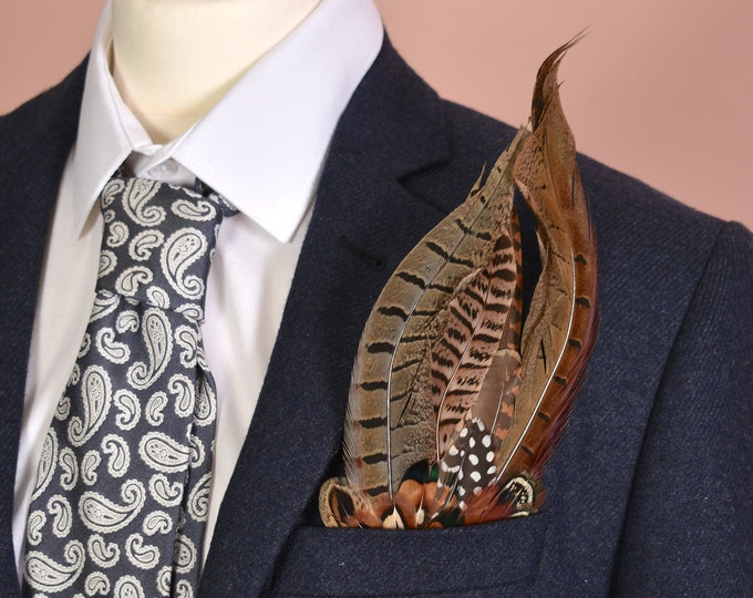 Pheasant Feather Pocket Square No.1
