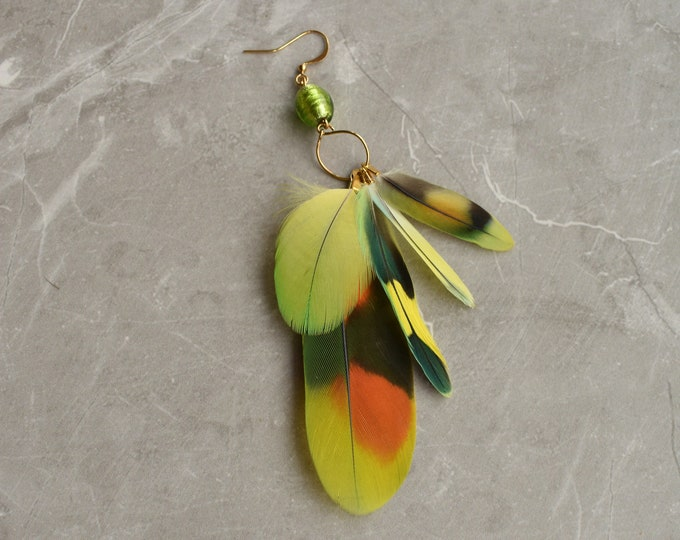 Single Tropical Feather Earring No.15