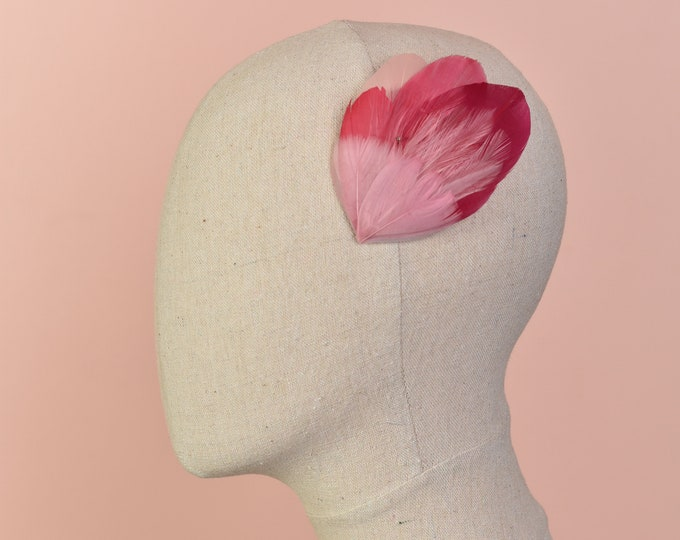 Ombre Pink Feather Hair Clip Fascinator