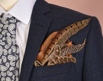 Pheasant Feather Pocket Square No.3