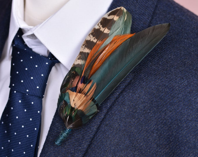 Green and Copper Pheasant Feather Lapel Pin No.151