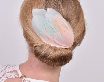 Blush Pink and Mint Feather Fascinator Hair Clip