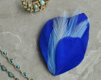 Feather Hair Clip in Royal Blue