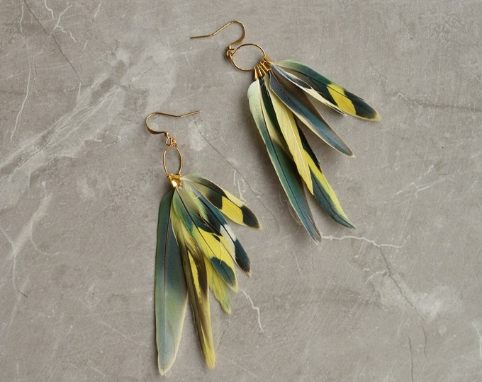 Yellow, Green and Blue Tropical Feather Earrings No.18