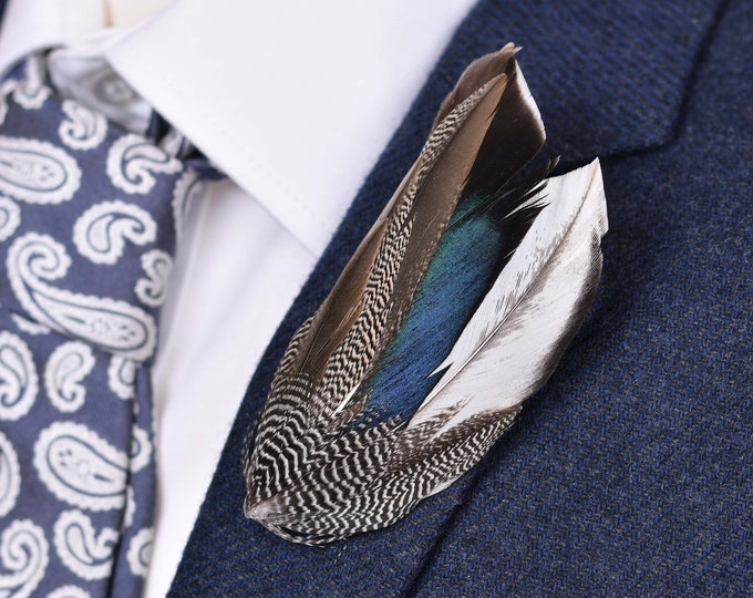 Navy Blue Duck Feather Lapel Pin Small No.90
