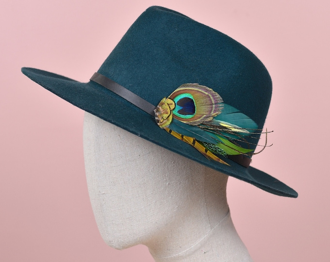 Teal and  Peacock and Pheasant Feather Hat Pin / Lapel Pin No.208