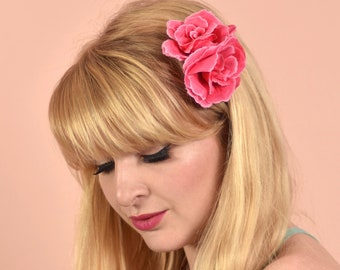 Double Pink Rose Hair Clip