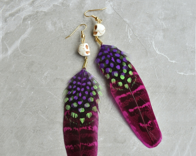 Skull and PinkFeather Earrings