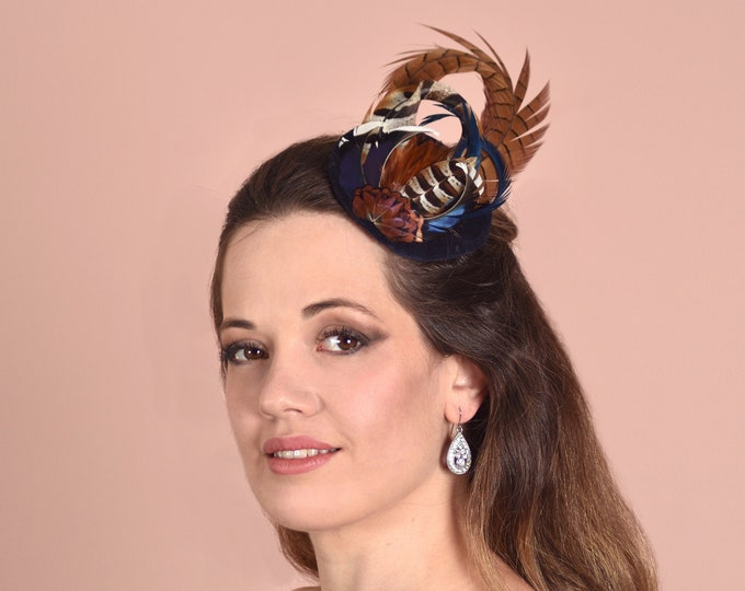 Copper Pheasant Feather Fascinator in Navy Blue Velvet