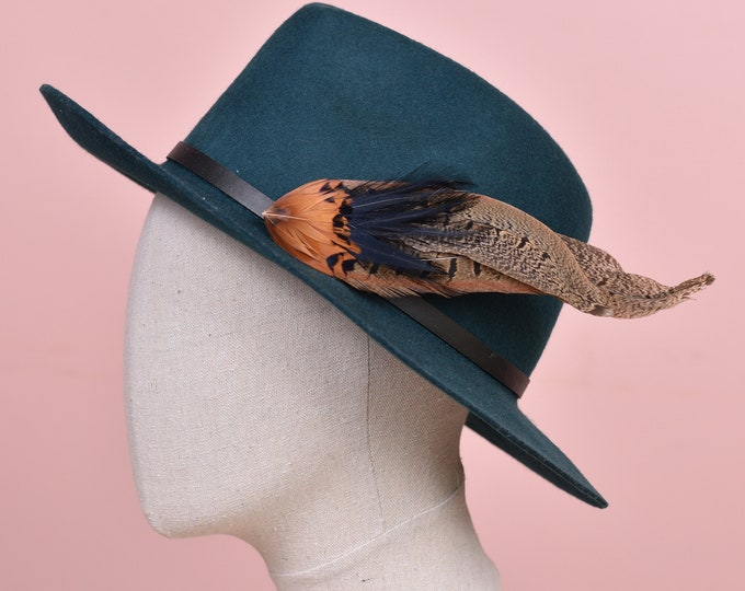 Navy Blue and Copper Pheasant Feather Hat Pin /  Lapel Pin No.133