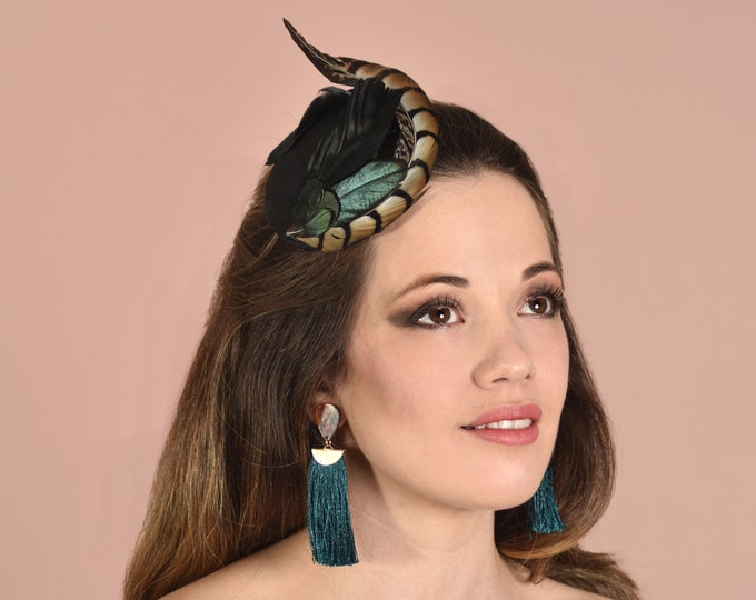 Black and Gold Pheasant Feather Fascinator on Black Silk