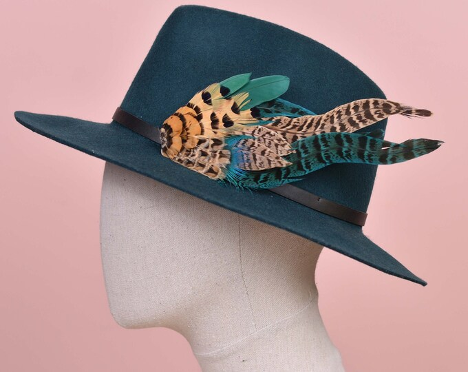 Green and Blue Pheasant Feather Hat Pin /  Lapel Pin No.128