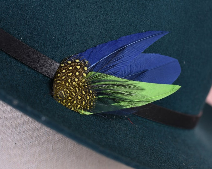 Feather Hat Pin / Lapel Pin in Navy Blue, Lime and Yellow Small No.121