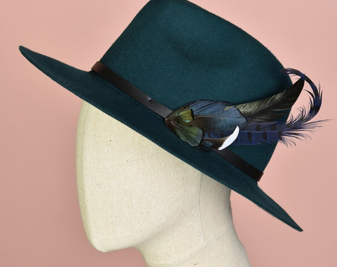 Navy Blue and Green Feather Lapel Pin / Hat Pin No.53