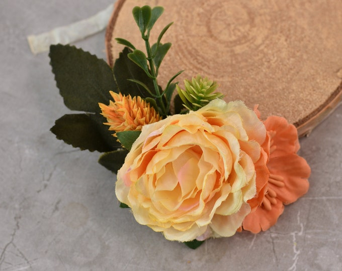Apricot Yellow and Orange Peony Hair Clip